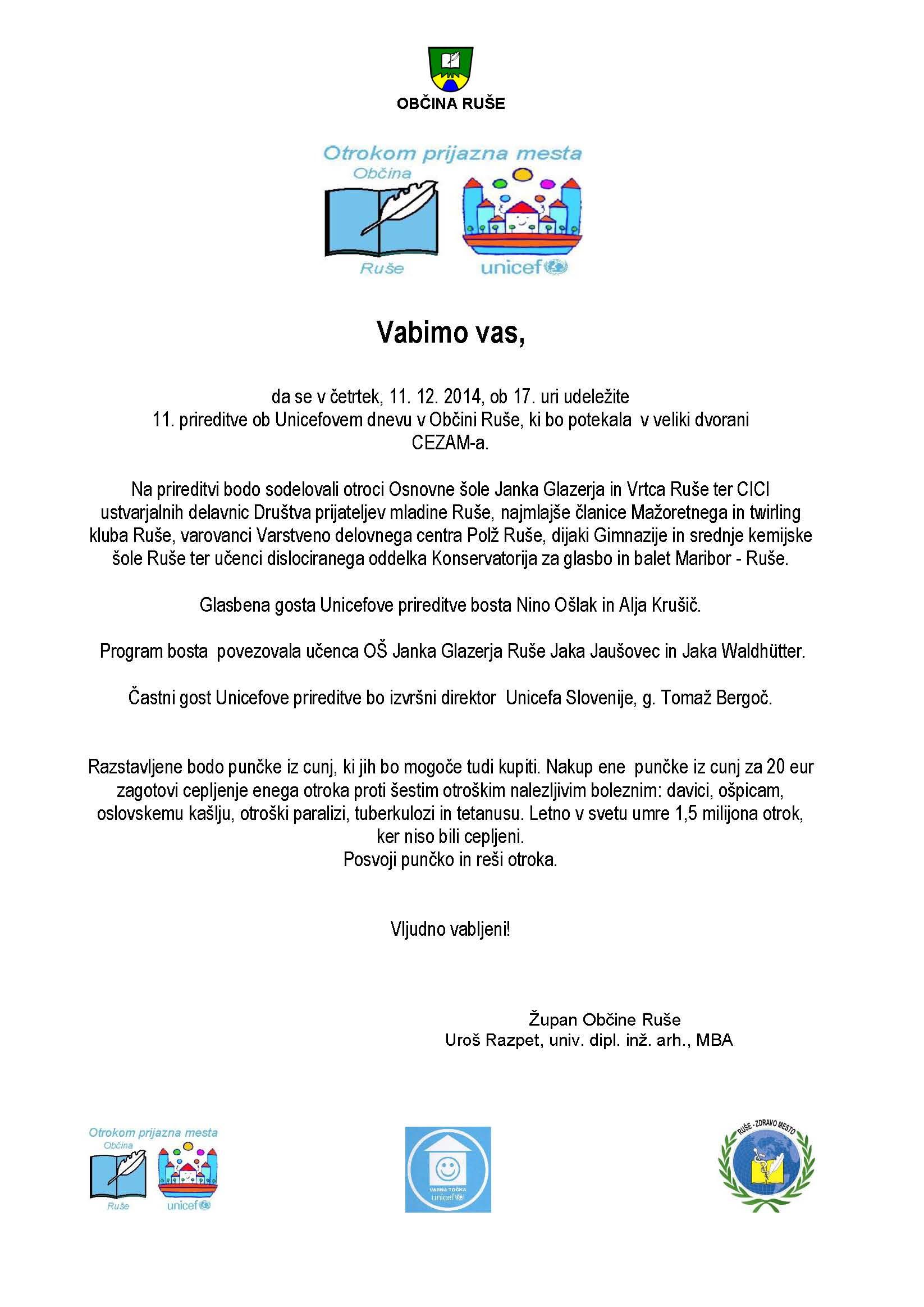 VABILO UNICEF